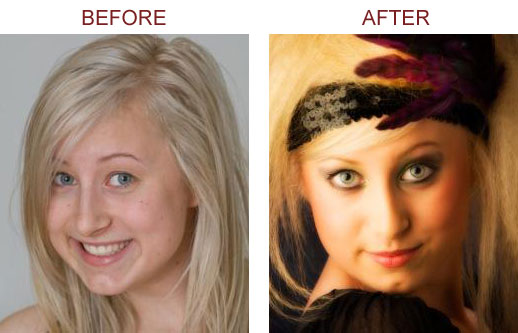 Before and after mineral cosmetics